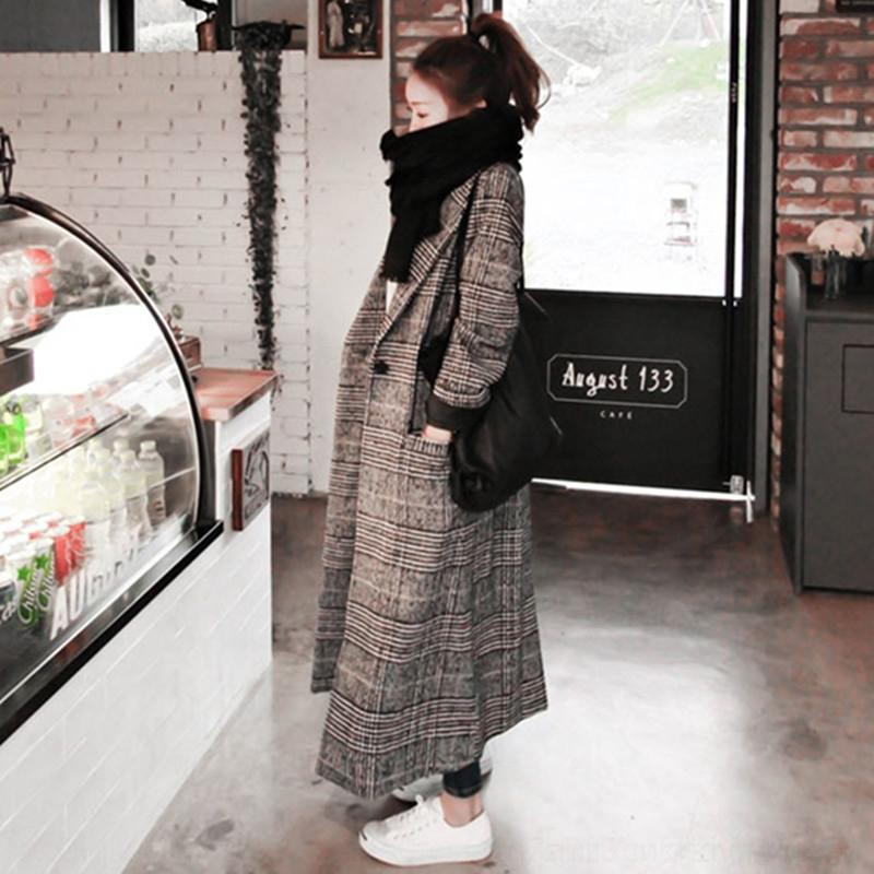Automne laine à carreaux femmes de style laine de laine manteau de laine coréenne hiver mince manteau de vêtements à carreaux oiseau cocon en forme épaissie minceur HAwlH
