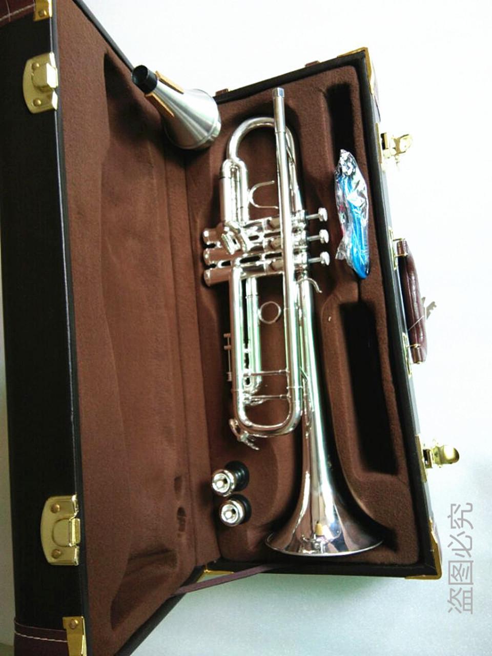 Vendita calda di alta qualità AB-190s Bach Trumpet B placcato argento piatto Tromba professionale strumenti musicali con cassa Spedizione gratuita