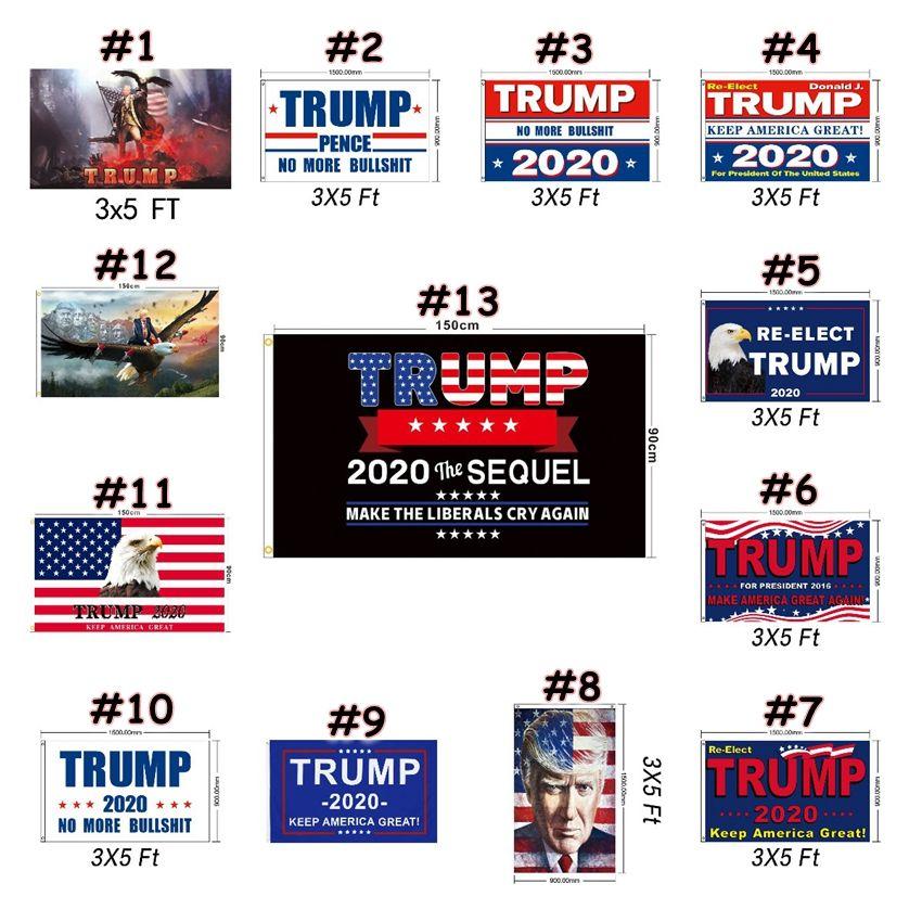 90 * 150cm Trump 2020 Bandiere 3 * Presidente 5FT elezioni americane Flag mantenere l'America drappellone Giardino Bandiera Banner Bandiere CCA12476 50pcs