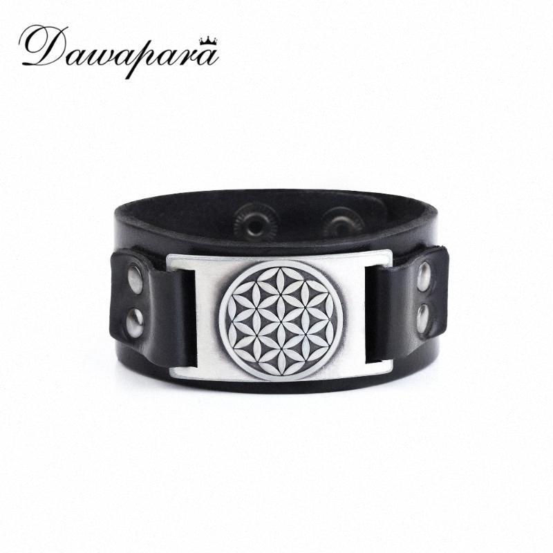 Dawapara Flor da vida Preto Brown Couro Cuff Bracelet Homens Mulheres Jóias 2020 QyfL #