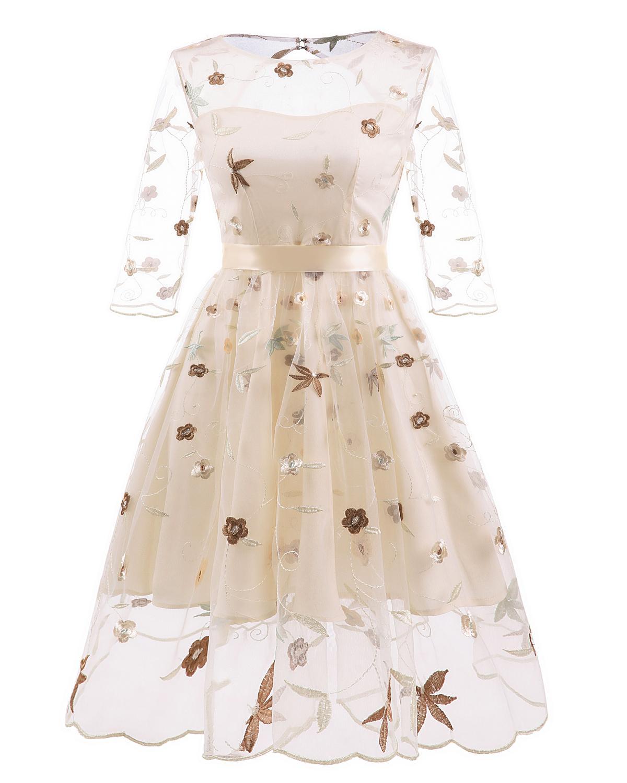 2020 flor da forma do vestido Amazon estilo europeu e quente organza três quartos luva bordada rendas das mulheres americanas de malha de três camadas prin