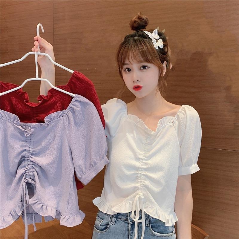 No. 1 été 2020 nouveau style occidental doux femmes épaule bois bulle oreille Top chemise bandoulière chemise à manches courtes avec cordon de serrage haut n9BE