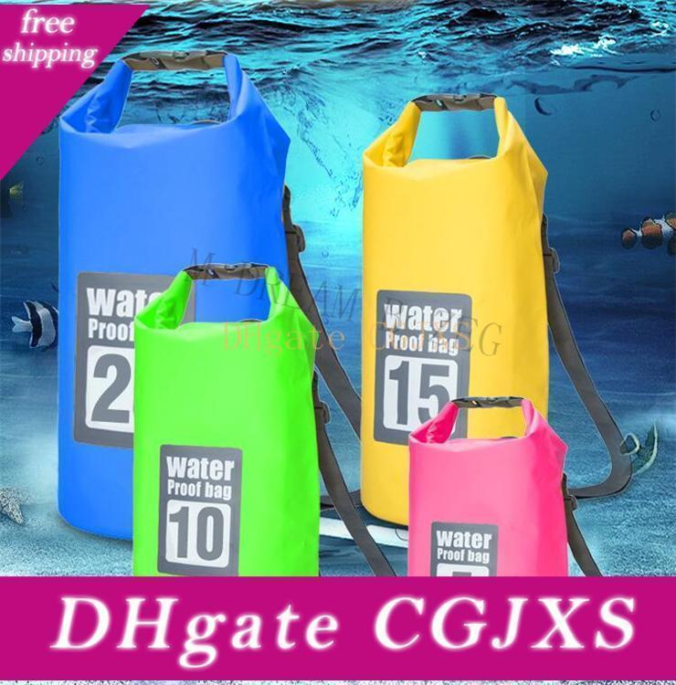 Ultraleve Seal Rafting Saco portátil tubo Waterproof Bag Para Outdoor Caminhadas Rafting Natação Kits seco sacos de armazenamento 5l / 10l / 15l / 20l / 30L