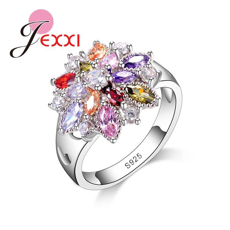 Coloré fleur coeur creux femmes Bagues de fiançailles pour mariage Cotillons argent 925 anneaux pour dames