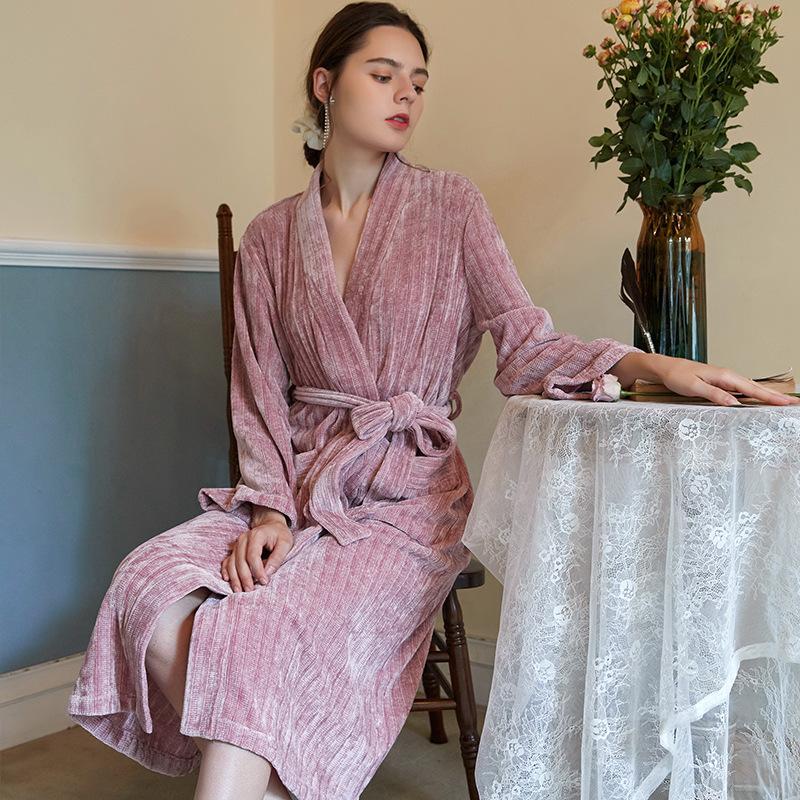 de las mujeres simple Otoño e Invierno de punto de algodón de manga larga pijama de francés y elegante Albornoz Albornoz largo de la mañana Vestidos
