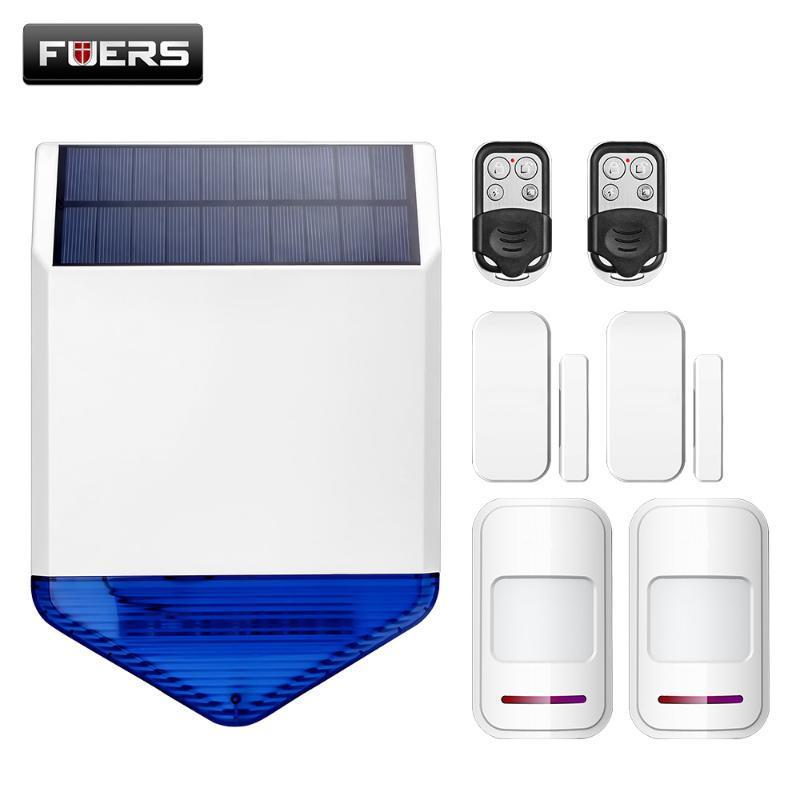 Alarm Sistemleri Fuers Kablosuz Açık Güneş Siren Su Geçirmez Ve İki PIR Hareket Sensörü Dedektörü 433 MHz Kapı Manyetik