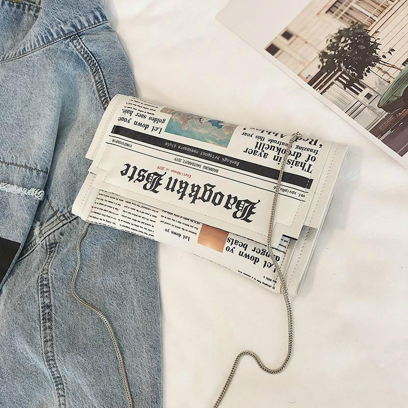 Joker плечо мешок сумка цепь женская оптовая индивидуальность модные сумки квадратные маленькие новости стиль мешок газеты Bolso Mujerbmggh kqfe