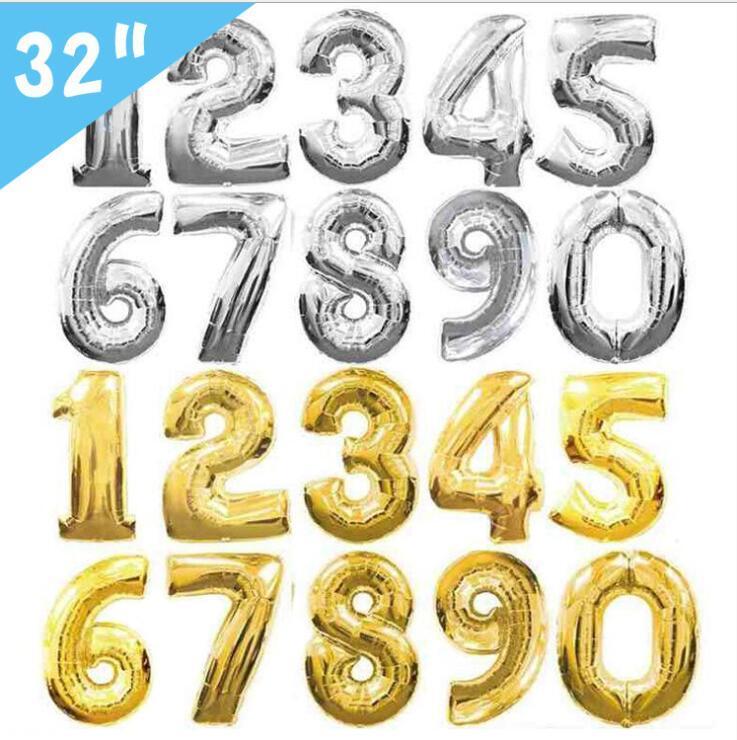 6 색 32 또는 16 인치 번호 0-9 풍선, 웨딩 룸, 생일 파티 장식, 알루미늄 필름 풍선