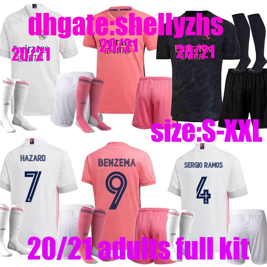 adults kit+socks 2020 Real Madrid new Soccer Jersey HAZARD soccer shirt ASENSIO ISCO 19 20 21 full kit real madrid Football uniform sets