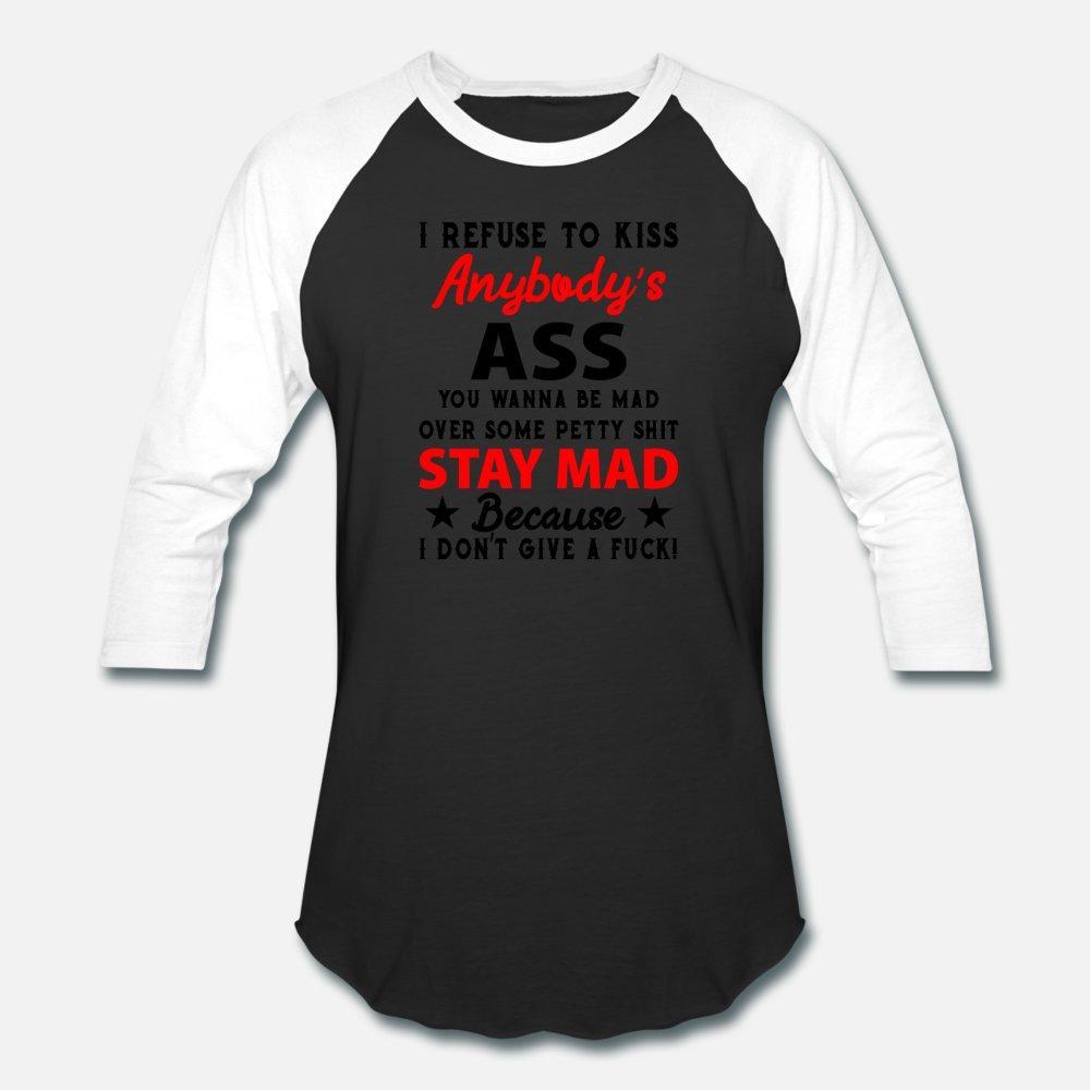 RECHAZO beso Cualquiera S Culo ¿Quieres ser Mad hombres de la camiseta diseños de manga corta cuello redondo formales lindo auténticos del otoño del resorte