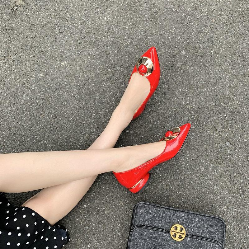 Les femmes en cuir verni poined Toe Pompes 2cm talons bas Chaussures Femme Casual Party Bureau taille femme Chaussures 41 42 43