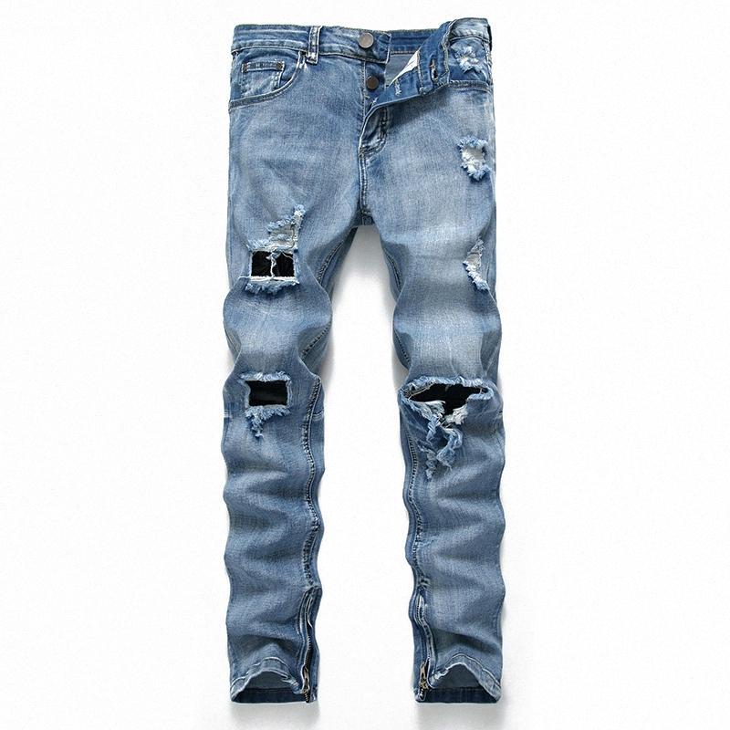 dril de algodón de color sólido pantalones vaqueros rasgados casual hombres pantalones vaqueros rectos mediados de cintura apenado para hombres vaqueros de gran tamaño # 4BCr