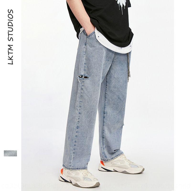 P77Za LKTM мужских джинсов отверстия уличных модных иных студент подростки Корейские джинсы стиля модных широкой стороны и бренд ногу прямо рыхлую