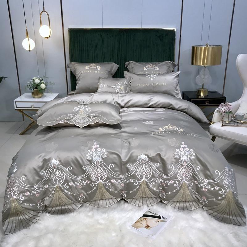 35 Silk Cotton Jacquard Crown Bedding Set Embroidery Arc edge Duvet Cover Sets Bed Sheet Pillowcases Queen King Size 4Pcs