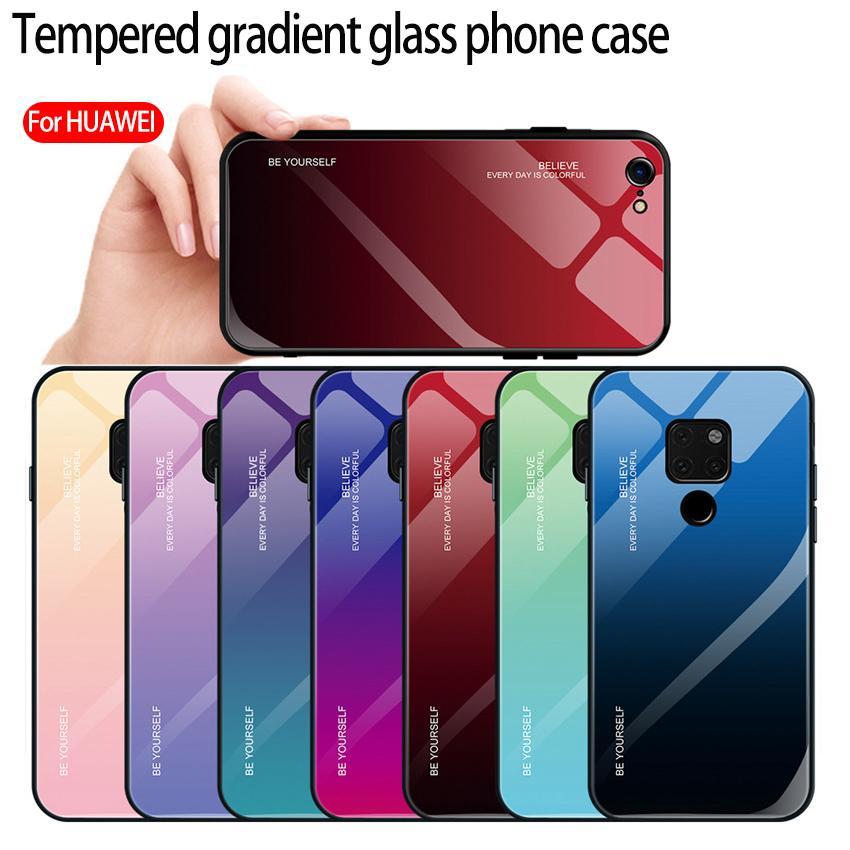 Для Huawei p30 про телефон случае Gradient закаленного стекла мобильный телефон случай TPU мягкий край анти-падения защитный кожух