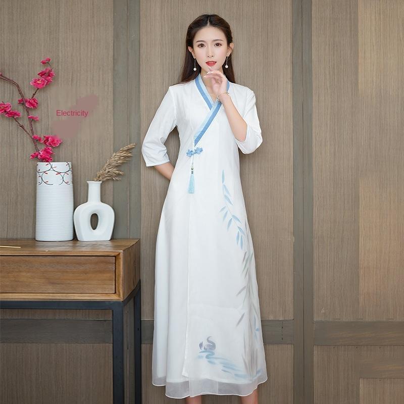 4sh5m yu7T8 9243 estilo étnico lençóis de algodão pintados à mão vestuário chinês artística traje chinês e vestido de verão nova Zen Nacional 2020 dres