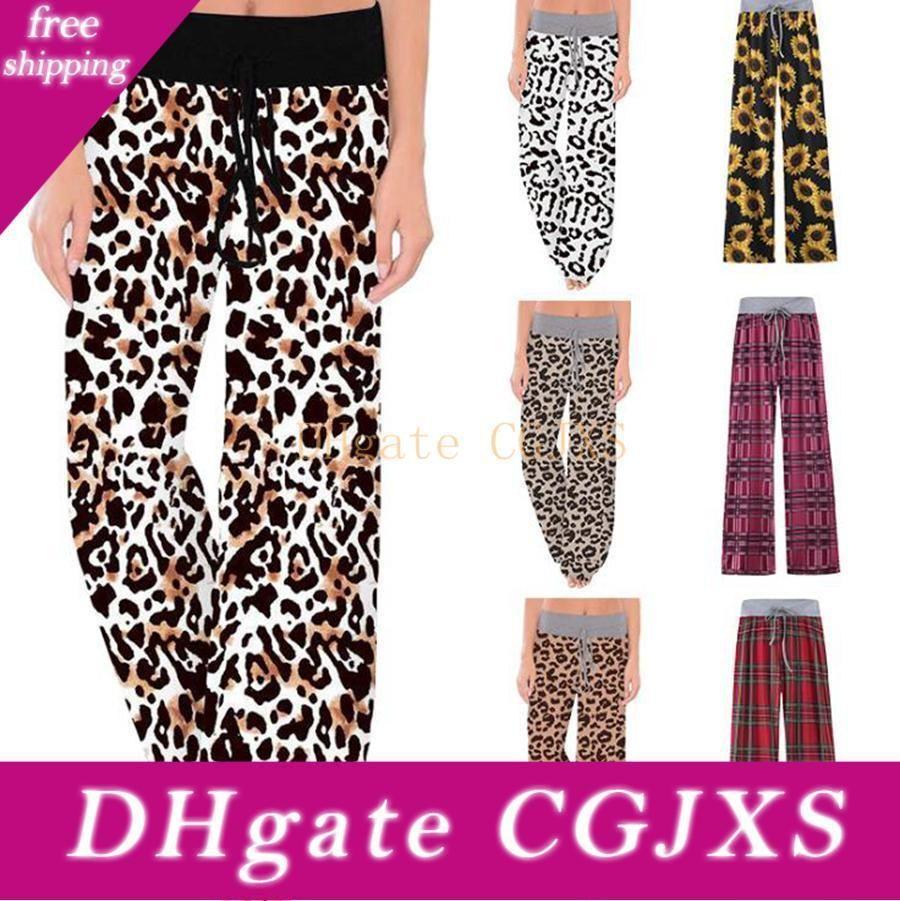 2020 Leopard Wide Leg Pants Women High Waist Comfy Stretch Plaid Sunflower Drawstring Yoga Pants Sleepwear Maternity Trouses Ljjo7510 13 From Yhyhyhyh 35 75 Dhgate Com