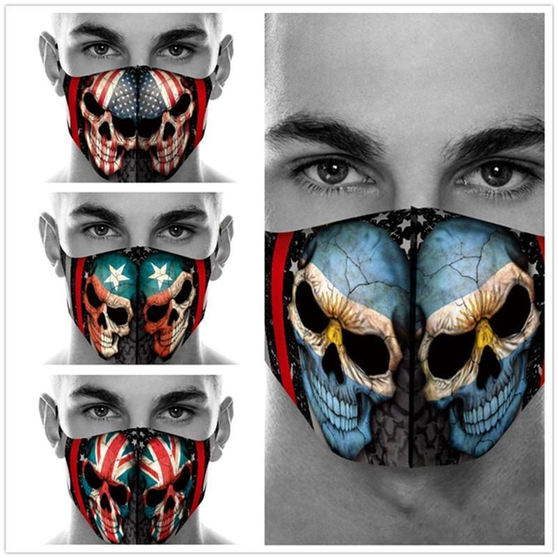 Маски Маски 100шт Flag Adult Голова Призрак печать хлопок маска игра Dust Halloween Череп Косплей лицо Маскарад партия многоразового лицо