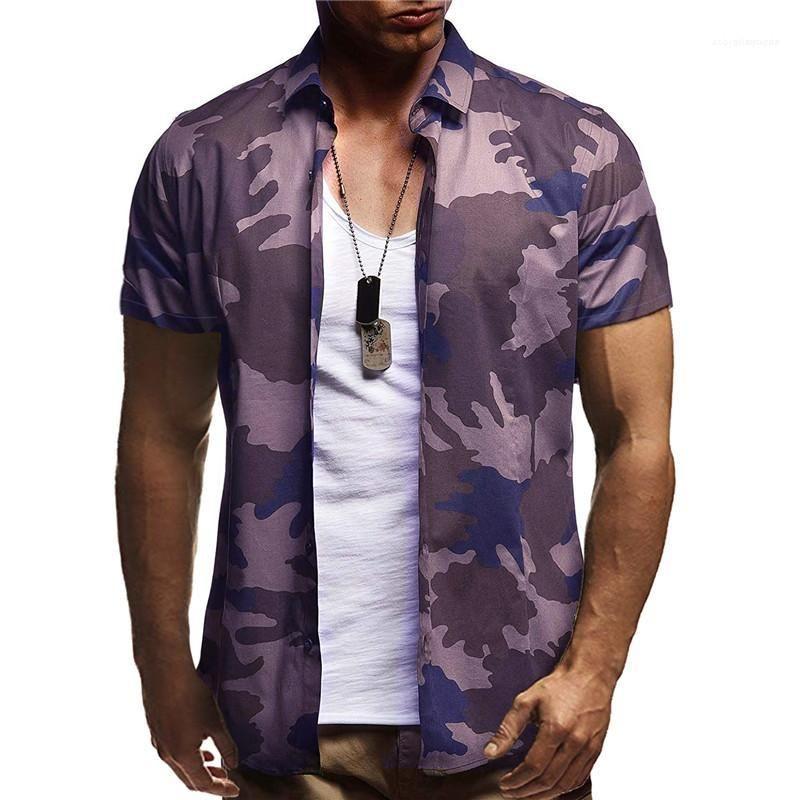 Einreiher Sommer-beiläufige Hemden Homme Mode Kleidung der Männer Camouflage Shirt Kurzarm drehen unten Kragen