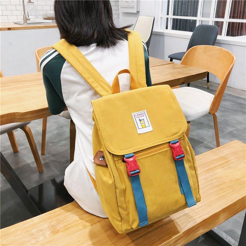 Sac à dos Backbag School Nouveaux filles Teenage High College Back Pack Pack School Nylon Student Bagpack Style Solide Femmes Casual Junior WTDUS