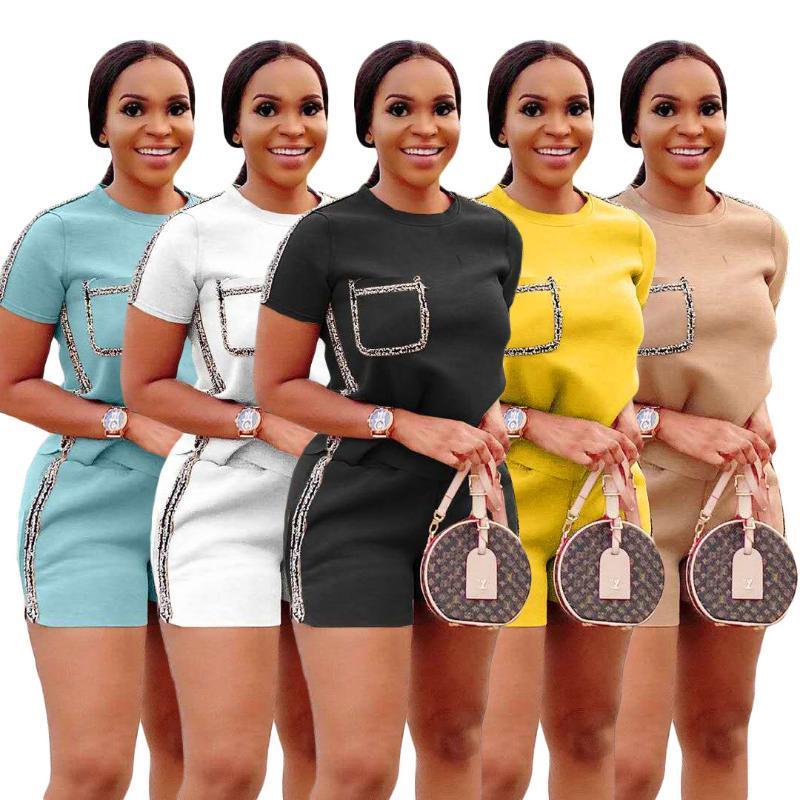 유럽과 미국의 핫 스타일 모델 솔리드 컬러 패치 워크 스택 레깅스 두 조각 세트 2020 여름 여성 정장
