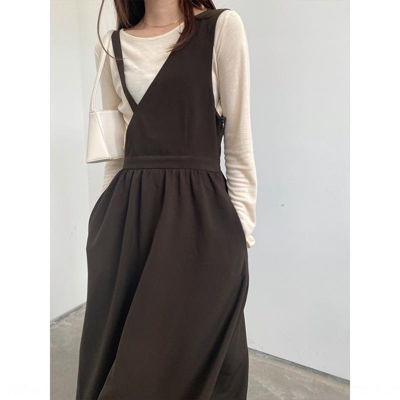 1lKYF 2020 Herbst-neue koreanische Art-Taille schlank Design Kleid unregelmäßigen Bügelkleid DOB A8051