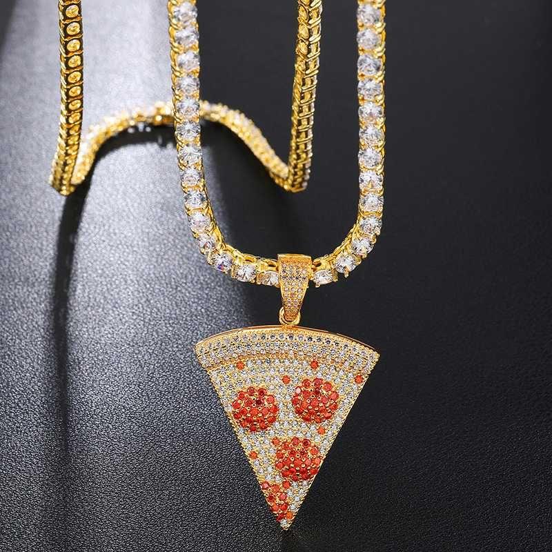 Hip Hop buzlu Out Pizza PendantNecklace Bakır Altın Gümüş Renk Mikro Asfaltlanmış Kübik Zirkon Takı Hediye İçin Erkekler