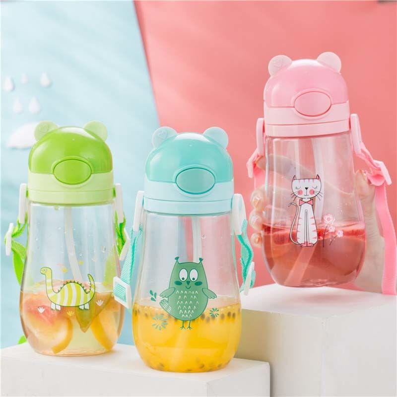 600ml gesundes Kind Wasserflasche mit Stroh Qualitäts-Plastik Kid Trinkgefäße Kinder Wasserflaschen BPA frei