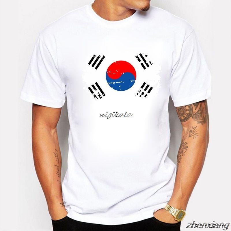 BLWHsA Корея Поклонники Cheer Tshirts Для мужчин Korea National Flag Tee Tops рубашки лето Повседневный Tshirts Ностальгический стиль