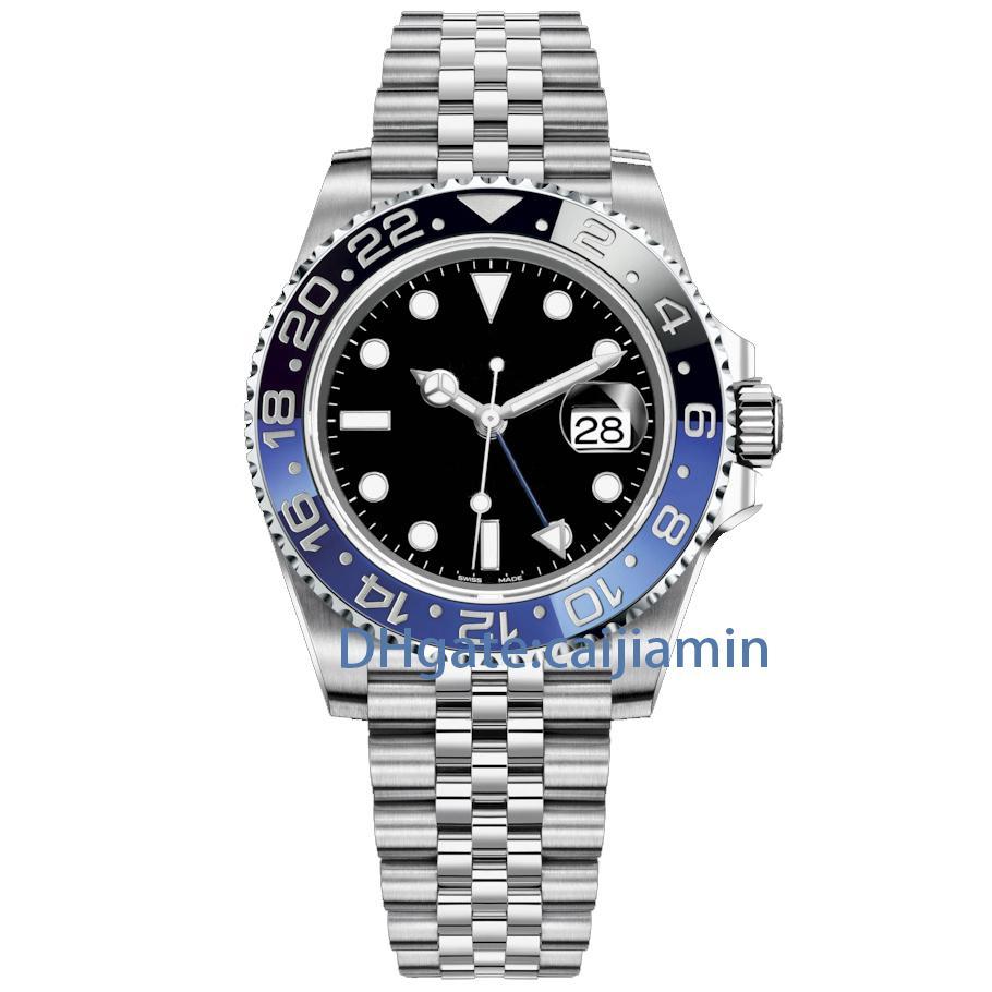 caijiamin- U1 Hommes Montres 40mm Montre automatique mécanique en acier inoxydable Bleu Noir Céramique Saphir Montres-bracelets de luxe montre