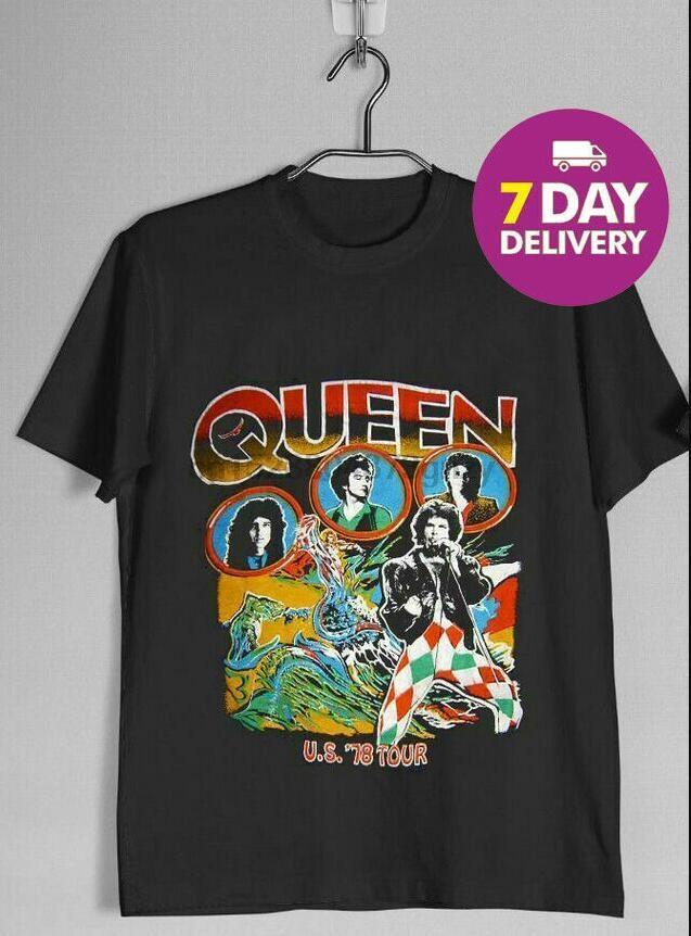 VINTAGE NADİR Kraliçe 1978 Tur Bant tişört Siyah Pamuk Tam Boy Bay Bayan Unisex Moda Ücretsiz Kargo tişört