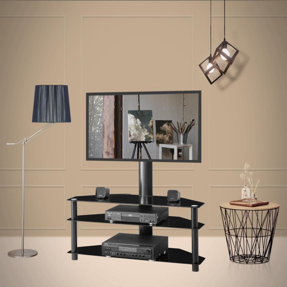 Cam Raf W24104949 Of Siyah Çok fonksiyonlu Açısı yüksekliği ayarlanabilen temperli cam tv standı LCD TV Parantez Plazma braket Üç Katmanlar