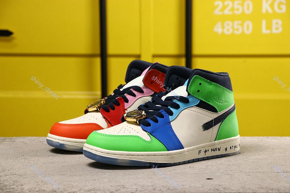 (NO BOX) Melody Ehsani Nike Air Jordan 1 Mid WMNS Fearless Frau Mann drei begrenzte Art und Weise Turnschuhe Trainer Sportschuh weiß Größe 36-45 UP