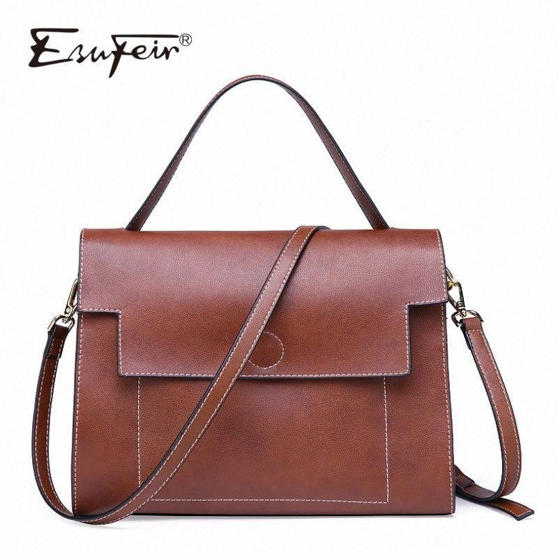 ESUFEIR 2018 echten Leder-Dame-Handtaschen-beiläufige Schulter-Beutel Crossbody-Tasche Solid Color Frauen Platz 4Xjw #