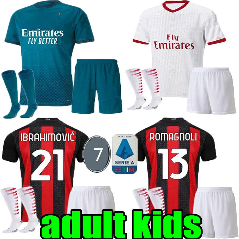 adult kids AC 2020 2021 milan IBRAHIMOVIC child soccer jerseys Set 19 20 21 THEO REBIC PIATEK PAQUETA football shirts men boy kits uniforms