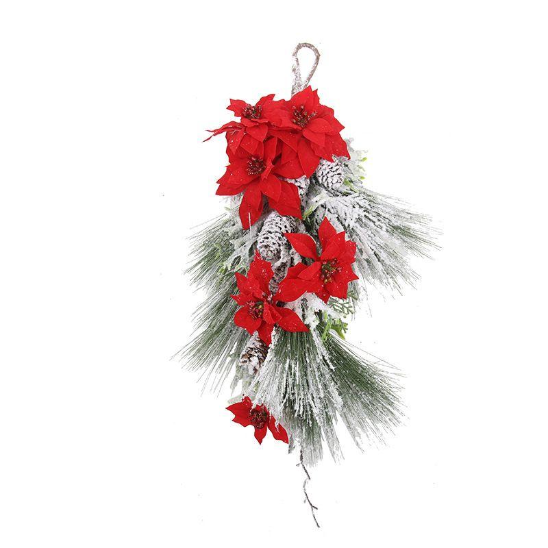 Noel çelenk süsleri Noel günlük ihtiyaçlar için kar simülasyon çiçek ile kırmızı renk sahte suni çiçek dekorasyon