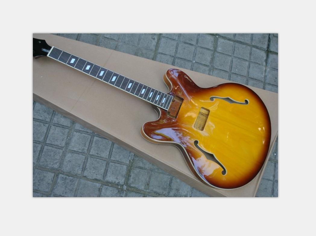 المفكك لم تنته الغيتار براون الأصفر الماهوجني نصف الجسم الجوف مجموعات غيتار كهربائي