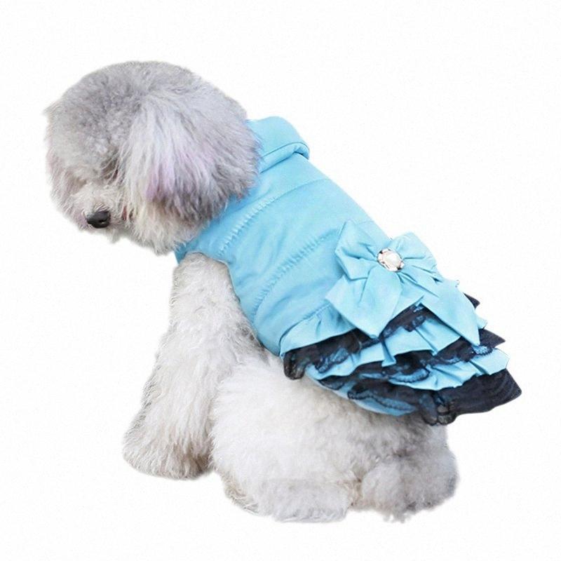 Quente Doce Dog Dress roupa do inverno Sweety bowknot Pet Princess Vestidos para gatos de cachorro Teddy inverno Vestido Atacado Pet Vestuário nVMo #
