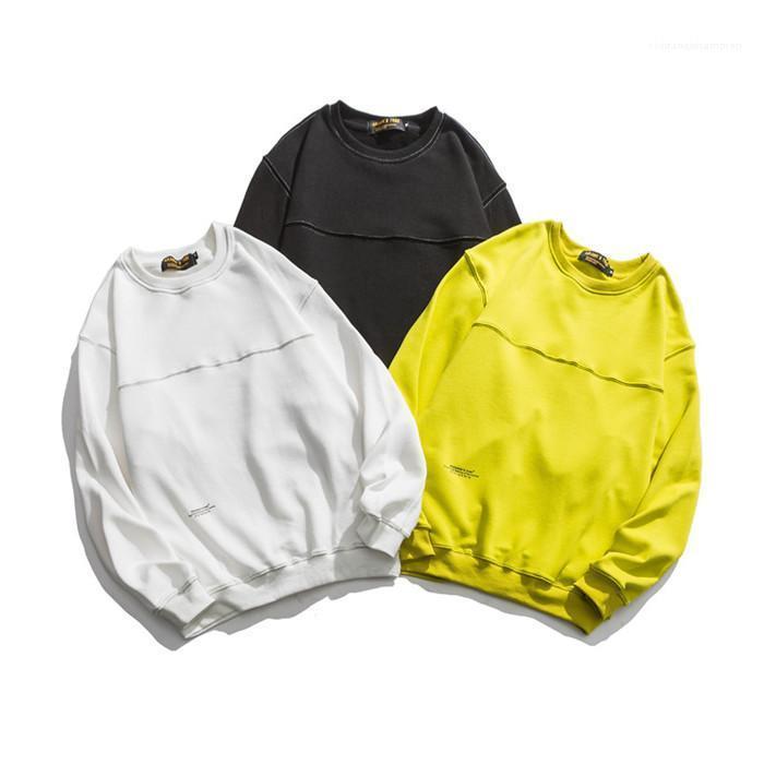 Hommes Patchwork O-cou Automne Sweats à capuche homme Mode à manches longues couleur unie Rue Sweatwears Mode homme vêtements amples