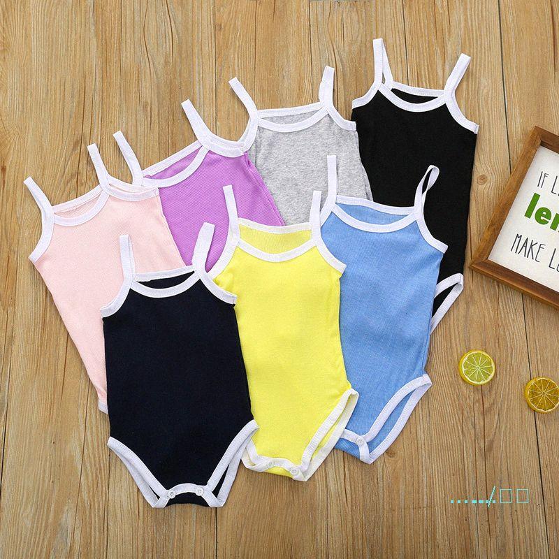 Комбинезоны Rompers Детская одежда Девочки Romper Сплошной цвет Купальник летний треугольник суспендируют Infant восхождение Одежда Дети Комбинезоны CZ422 HhgO #