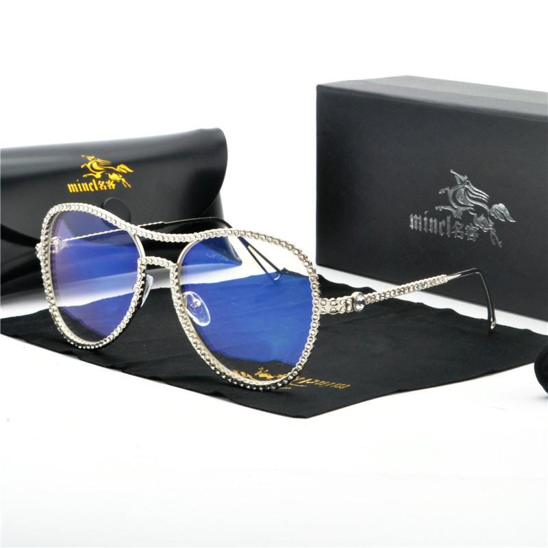 2020 New Sunglasses Women Diamond Retro Oval Sunglasses Lady Brand Designer Vintage Black Girls Eyeglasses FML