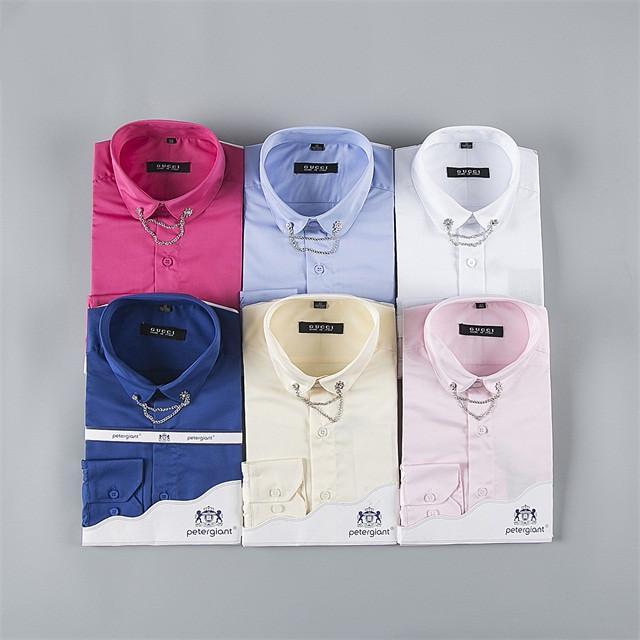 Мужские бизнес случайных рубашек с длинными рукавами сплошного цвета стройной формой мужского общества мужской беловоротничковой черная и белой модами рубашки # QO233