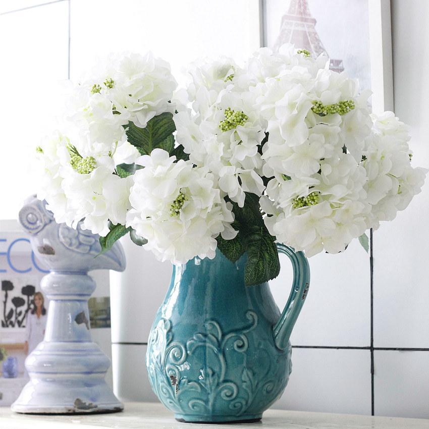 7 couleurs 6 têtes artificielles hortensia Lifelike artificiels bouquets hortensia pour mariage Accueil Party usine Décorations directement vente