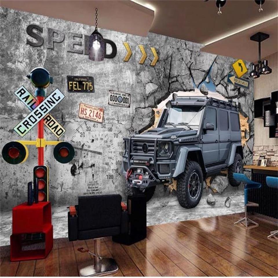 PERSONNALISÉ mur voiture 3d lit salon photo papier peint chambre d'enfants salle de pause bar café image canapé TV fond sticker mural papier peint