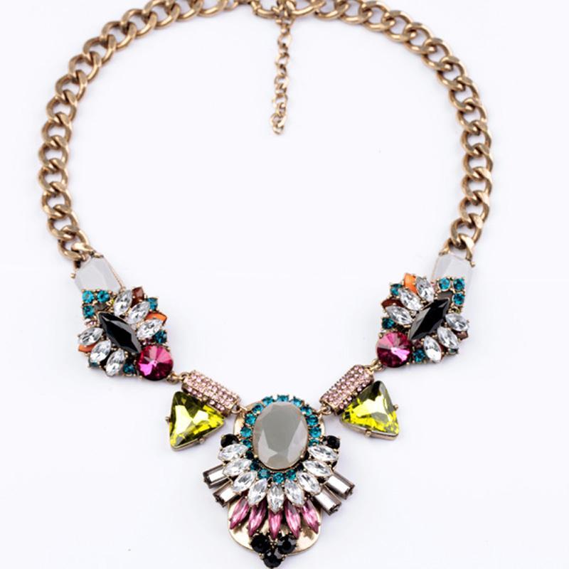 La imitación de la piedra preciosa pendiente grande de la vendimia del collar de Chunky declaración de la manera joyería del partido del collar de las mujeres Collares