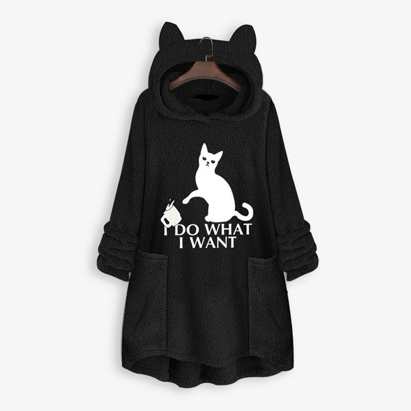 플러스 사이즈 양털 후드 코트 여성 겨울 봉제 후드 운동복 컷 고양이 편지가 중간 롱 풀오버 후드 인쇄 양면