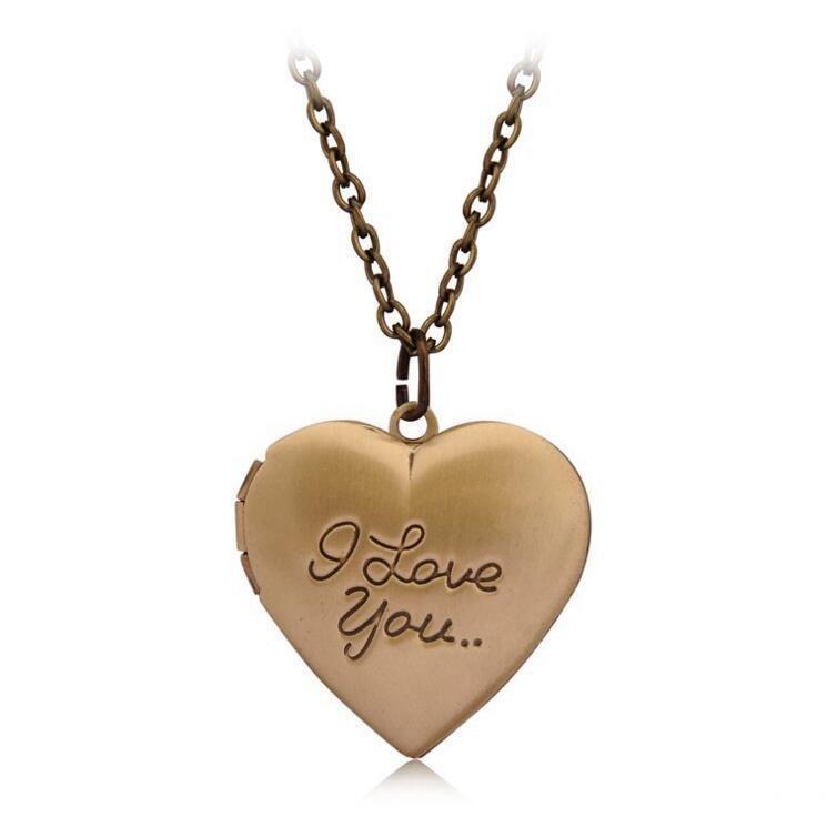 Fashion Chain Pendant Secret Heart Jewelry Gold Heart Women Necklace Love Message I 30 Rose Silver Love Living Lockets Locket Memory VaWPkO