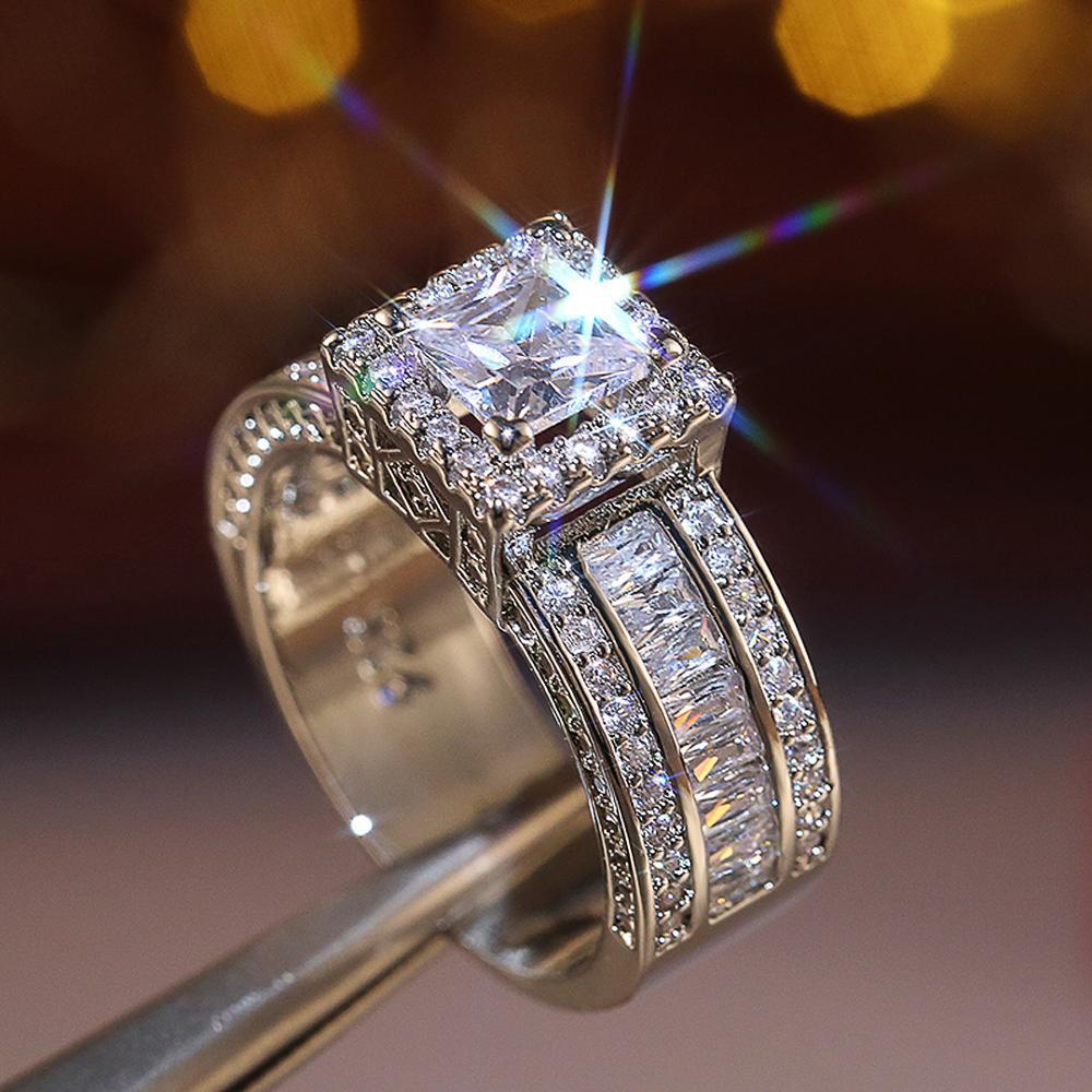 Junerain Marca Luxo Clássico Cristal Cúbico Zircônia Mulheres Anel com Princesa Quadrada Corte Zircon Aniversário Do Casamento Presente Jóias Quentes