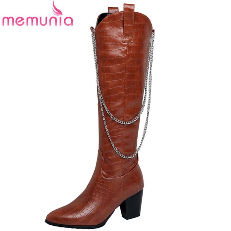 MEMUNIA scarpe 2020 stivali alti al ginocchio donne tallone spesso di modo casuale partito zip catena del freddo autunno inverno stivali da cowboy donna