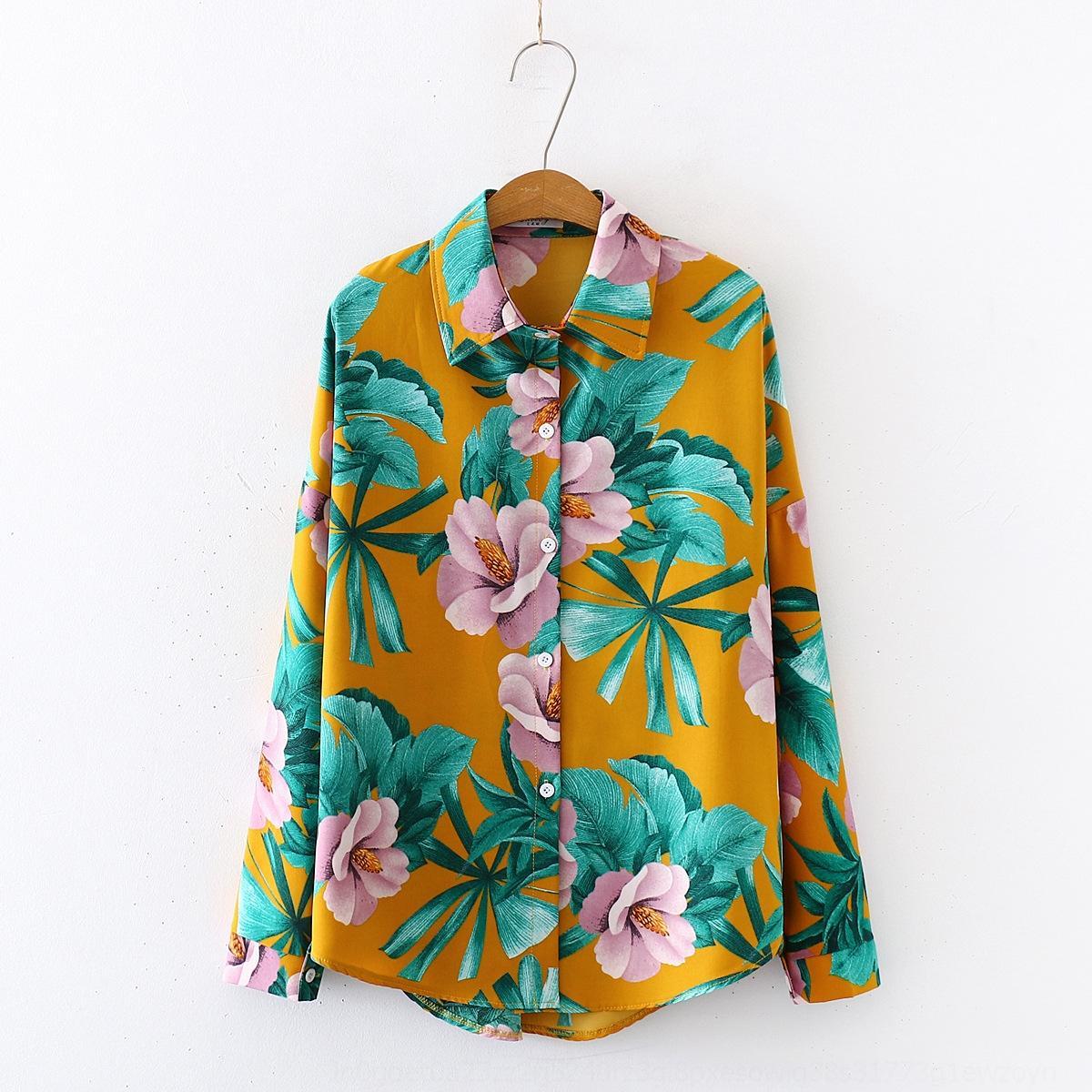 GeTt2 8z0Mr 2020 all'inizio della primavera nuova stampata camicia di stile del manicotto della lanterna lace-up Ciondolo vacanza Lanterna shirt da donna